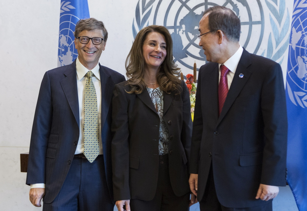 Bill and Melinda Gates are greeted by United Nations Secretary-General Ban Ki-moon at U.N. Headquarters in 2013. The Bill and Melinda Gates Foundation's bankrolling of Common Core helped to build political support among state governments across the country. Reuters