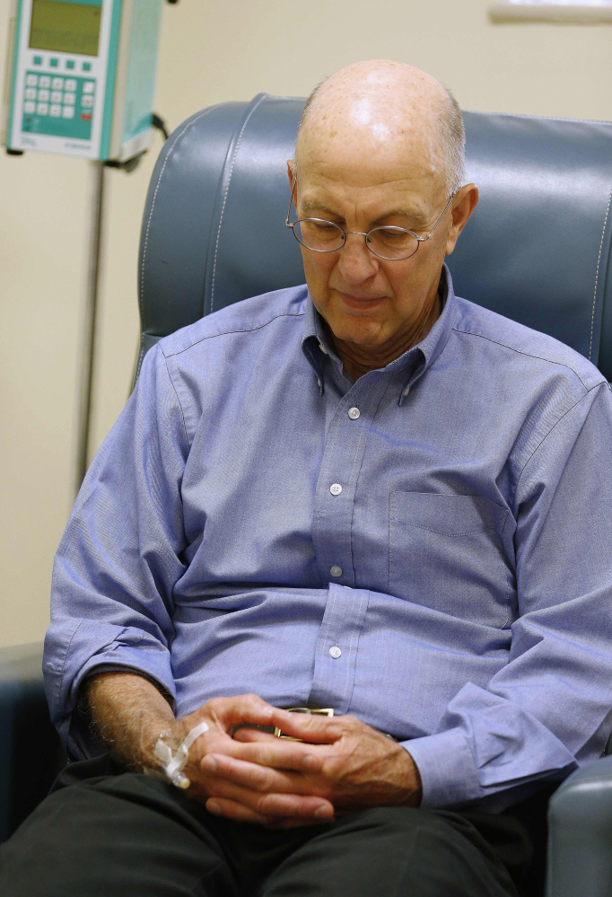 Peter Bristol of Wakefield, R.I., was the first recipient of an IV infusion for the three-year trial. Bristol's mother died of Alzheimer's and his brother has been diagnosed with the disease.