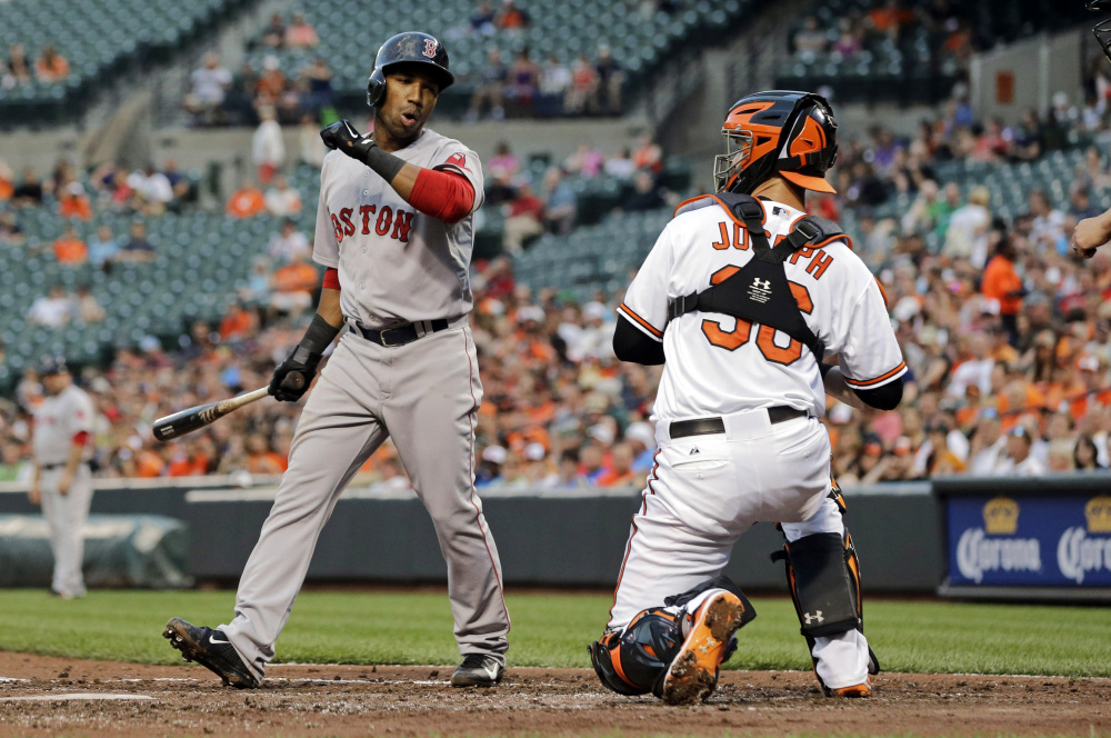 Boston's Jonathan Herrera, left, reacts in front of Baltimore Orioles catcher Caleb Joseph after striking out swinging in the third inning Monday in Baltimore. The Associated Press