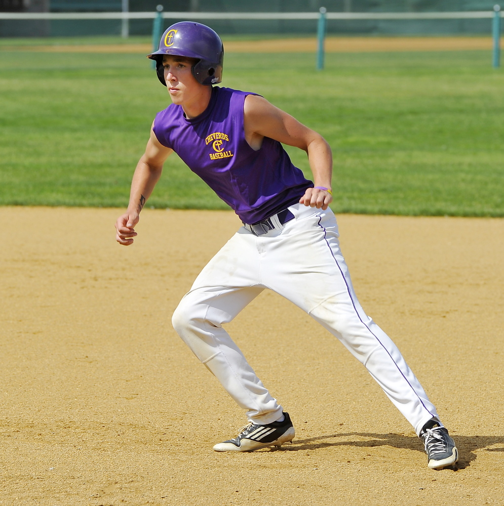 Charlie Mull of Cheverus practices base running drills with his team Monday. Gordon Chibroski/Staff Photographer