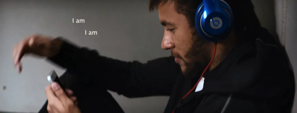 An ad for Beats Electronics shows Brazilian soccer star Neymar Jr. wearing a pair of Beats headphones and listening to music. The new 5-minute advertising video shows soccer stars like Neymar Jr. and others preparing for game time by using Beats headphones to manage distraction. The Associated Press