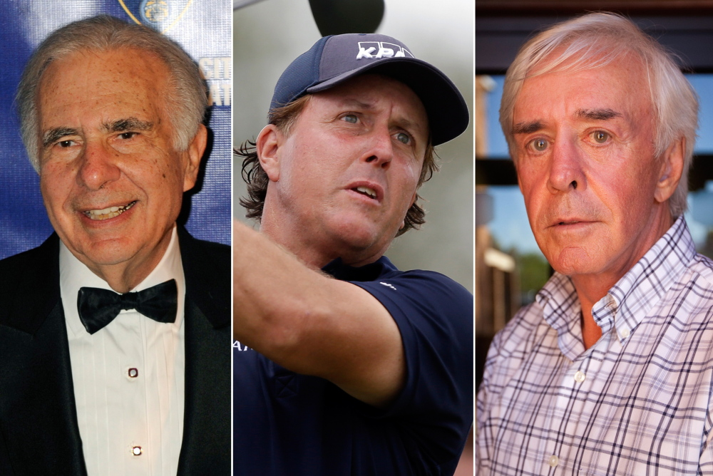 Financier Carl Icahn, left, pro golfer Phil Mickelson, center, and developer and high-profile sports bettor Billy Walters are part of an insider-trading investigation. The Associated Press