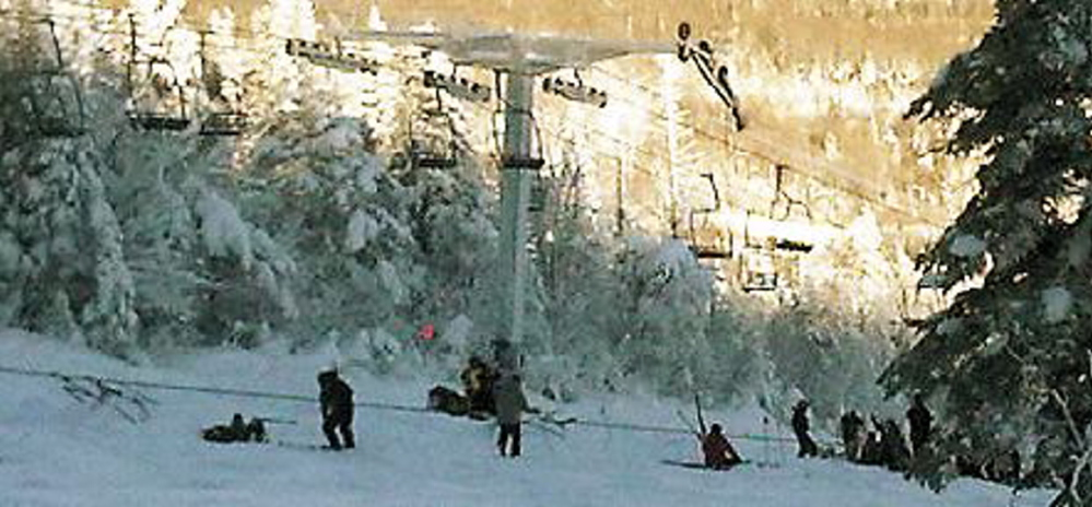 File Photo Five chairs derailed and their occupants fell 25 to 30 feet on Dec. 28, 2010. Michael Katz, a former Delaware legislator who was seriously injured, is suing the Carrabassett Valley resort.