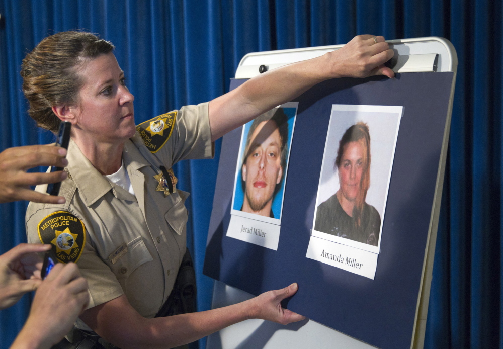 Metro police Officer Laura Meltzer posts photos of the couple that went on a rampage in Las Vegas, killing two police officers and a bystander before killing themselves. Reuters