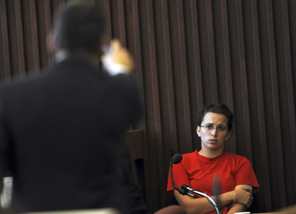 Defense attorney Joachim Barth questions Kathryn McDonough, 20, the former girlfriend of defendant Seth Mazzaglia during Mazzaglia's trial Wednesday at Stafford Superior Court in Dover, N.H.