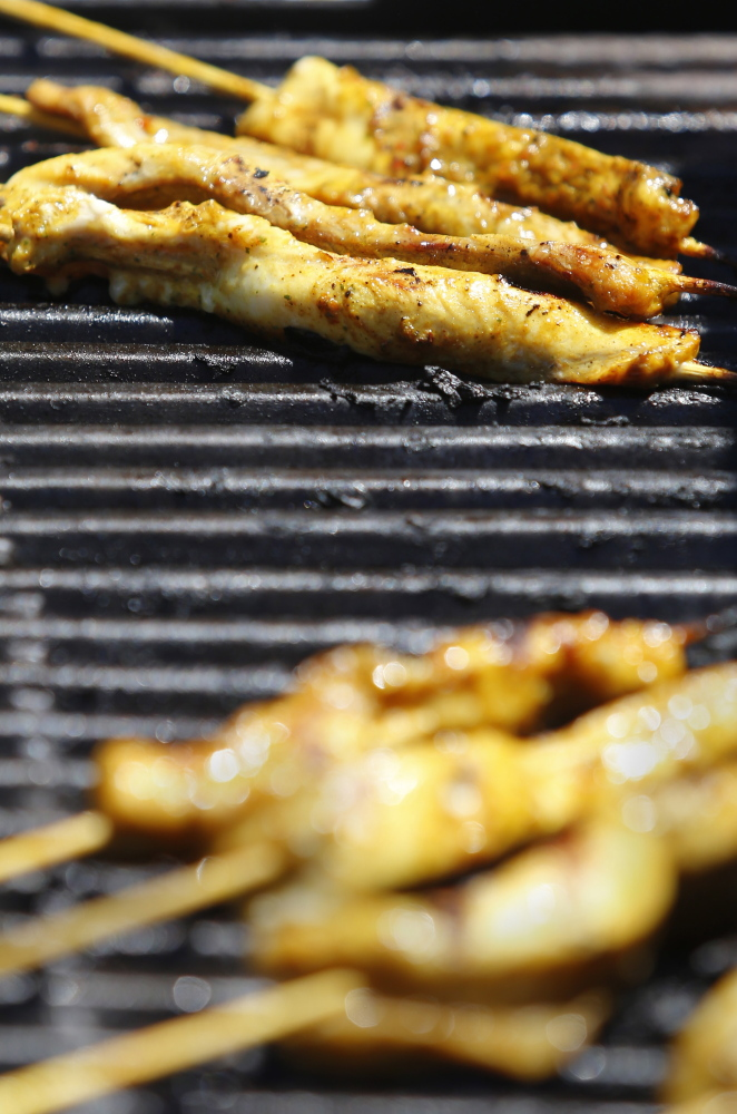 The Salt Exchange gave away samples of grilled dogfish skewers on Commercial Street during the Old Port Festival last weekend.