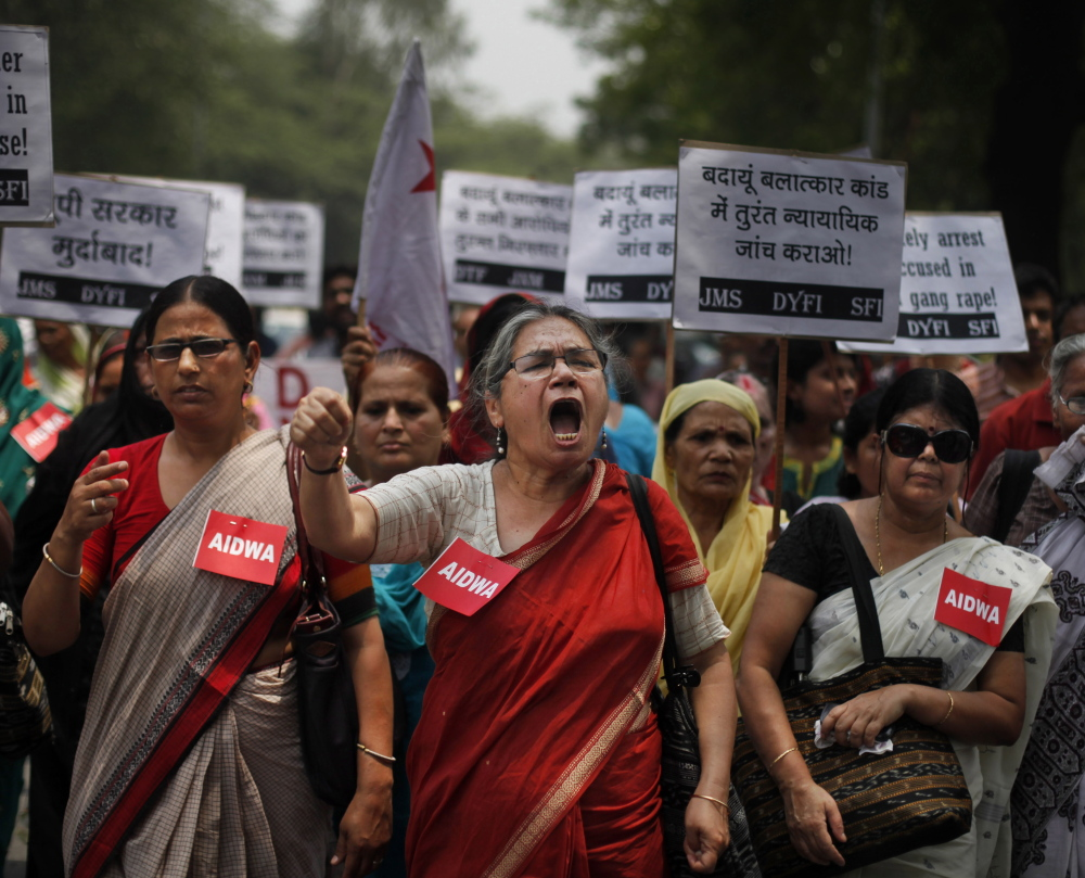 Violence against women has triggered massive protests in India, including the one above on May 31 by the AIDWA group after the gang rape of two teenage girls in New Delhi.