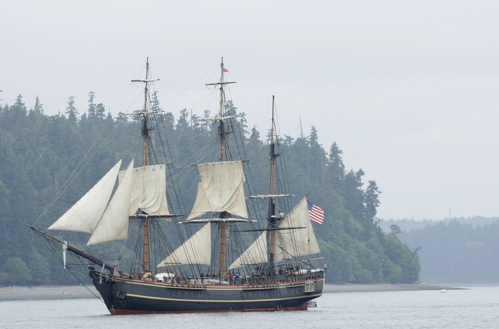 The HMS Bounty sails near Point Defiance Park in Commencement Bay near Tacoma, Wash., in 2008. The Associated Press