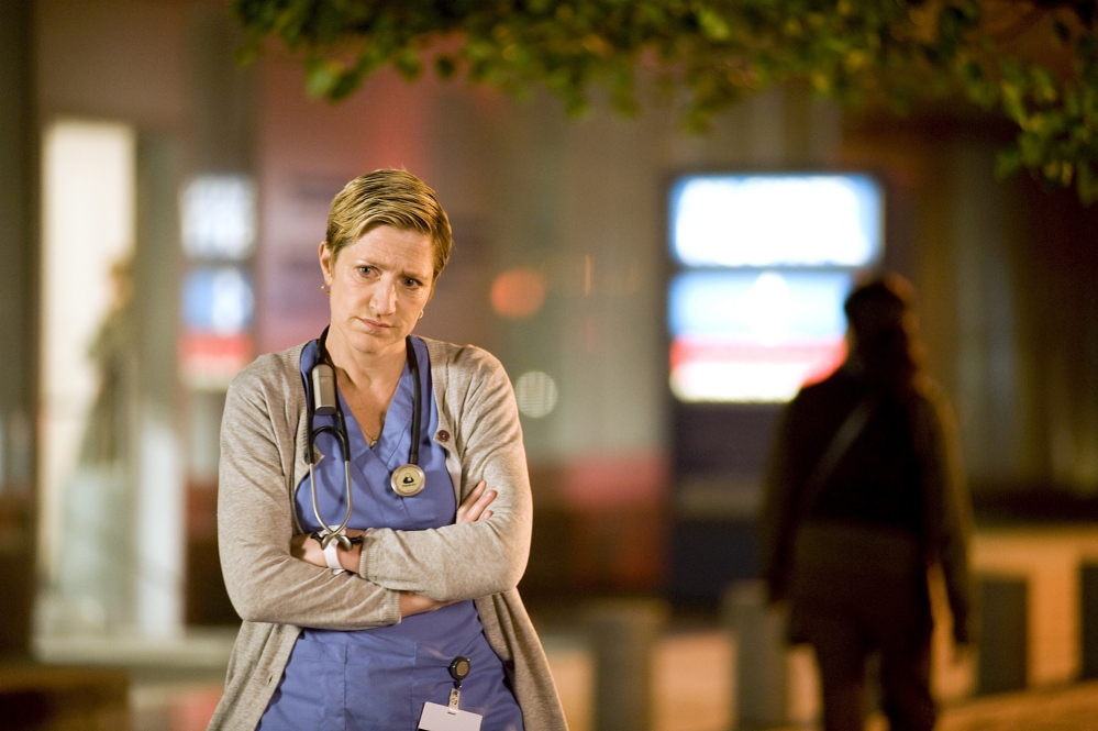 "Edie Falco, herself a recovering alcoholic, as the drug-addicted nurse in ""Nurse Jackie"""