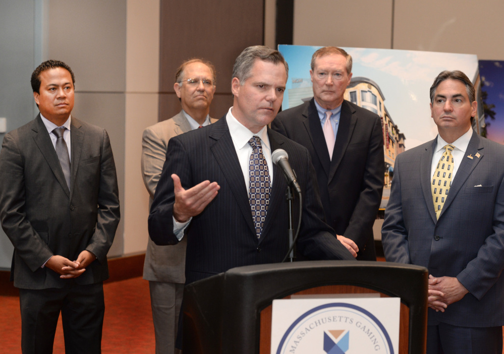 James  Murren,  Chairman and CEO of  MGM Resorts speaks during a news conference following the signing by the Massachusetts Gaming Commission for the first casino license at the MassMutual Center in Springfield, Mass., Friday, June 13, 2014.