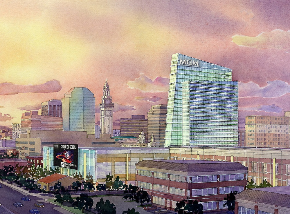 This artist rendering provided by MGM Resorts International shows part of the proposed $800 million casino complex in Springfield, Mass.