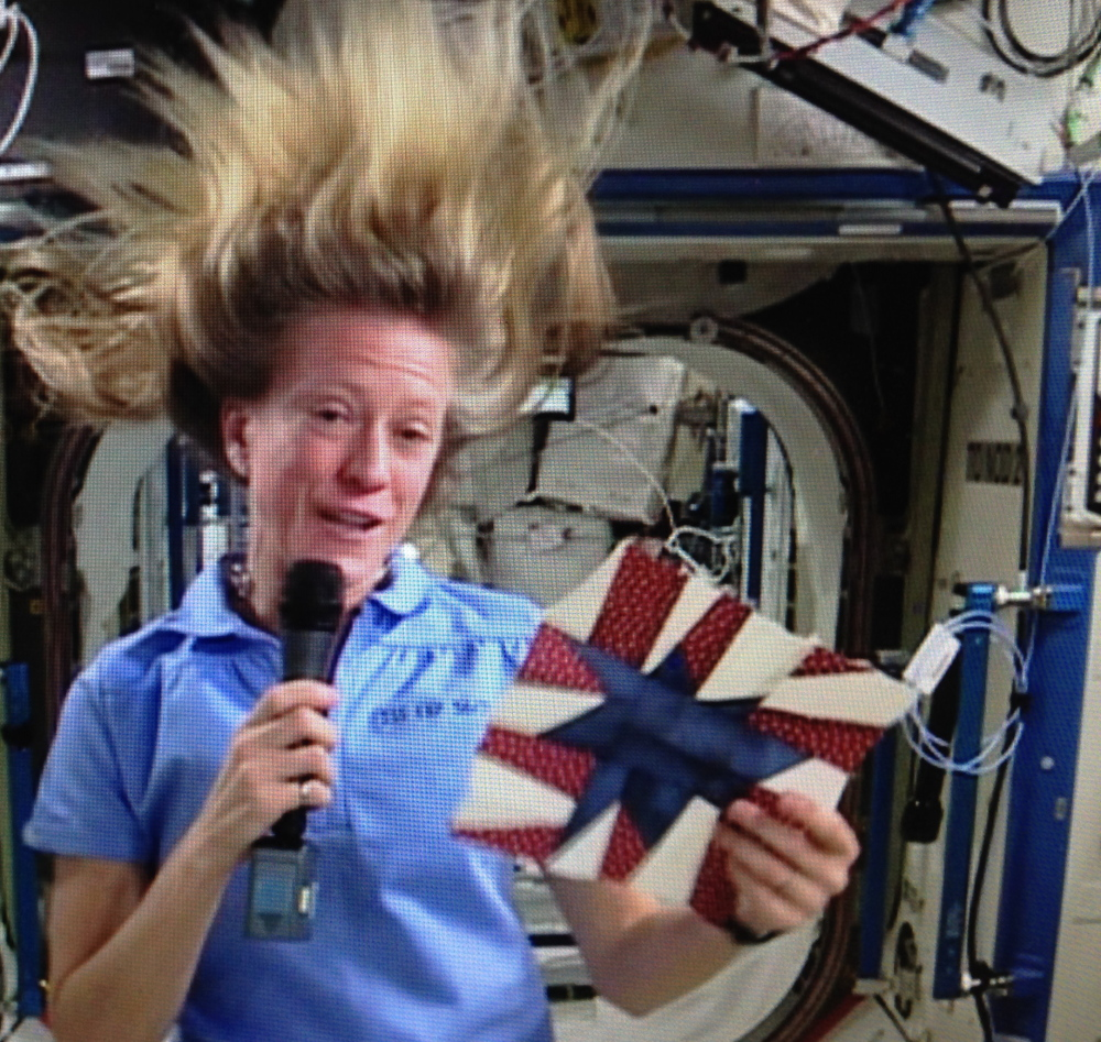 Astronaut Karen Nyberg made a quilt block aboard the International Space Station. Her block will become part of a quilt that will debut at the International Quilt Festival in Houston, which will celebrate its 40th anniversary in November.