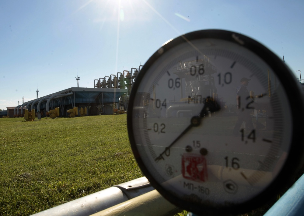 This photo shows a gas pressure gauge for underground gas storage facilities outside Lviv, Ukraine. Russia's Gazprom now says Ukraine owes it a total of $4.458 billion for gas from last year and this year.