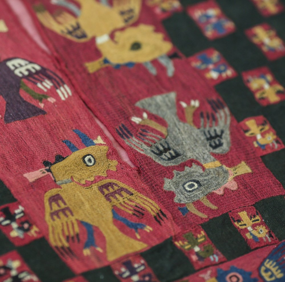 The detail of a Paracas textile is displayed at the National Museum of Archaeology, Anthropology and History of Peru in Lima. Peru, on Monday.