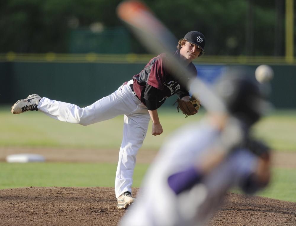 Windham pitcher Tanner Hodge dominated Marshwood hitters, allowing no hits against the Hawks.