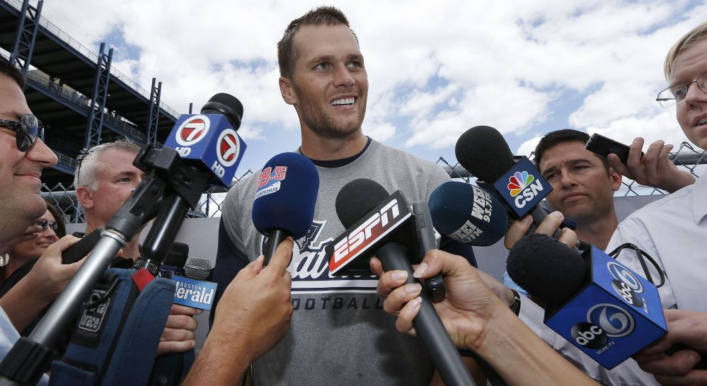When Tom Brady talks, the media still listen as they did Wednesday following the New England Patriots' minicamp in Foxborough, Mass., where the veteran quarterback laughed off those who doubt his credentials.