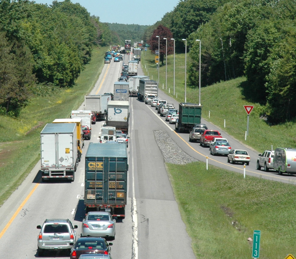 Traffic backs up on Interstate 95 northbound after a collision temporarily closed the highway Thursday.