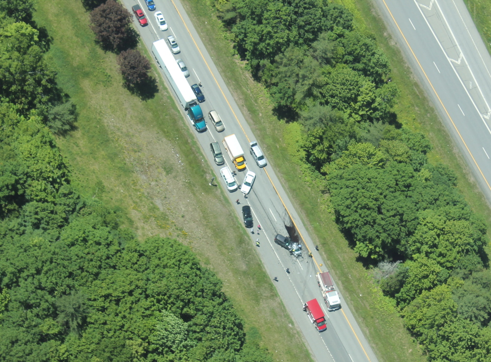 This photo taken from a Maine State Police plane shows the crash scene on Interstate 95 northbound on Thursday.