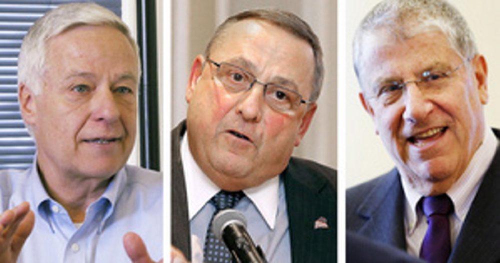 U.S. Rep. Mike Michaud, left, hasn't done well at articulating why the Veterans Committee – where he's the ranking Democrat – didn't recognize the scope of the VA health care system's problems earlier. But it's too simplistic to lay the system's failures at Michaud's feet, as his rivals in the race for governor – Gov. LePage, center, a Republican, and independent Eliot Cutler – are doing.