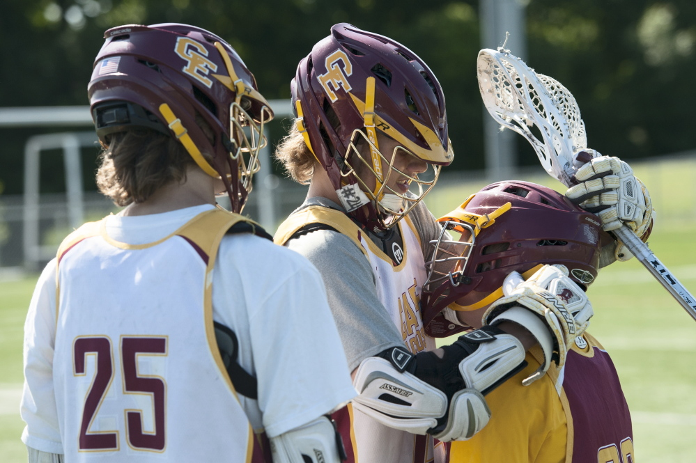 Through one generation after another, lacrosse has thrived in Cape Elizabeth. Now Owen Thoreck, left, and his twin brother Connor are freshmen for a program seeking its 18th state championship Saturday when it meets Yarmouth.