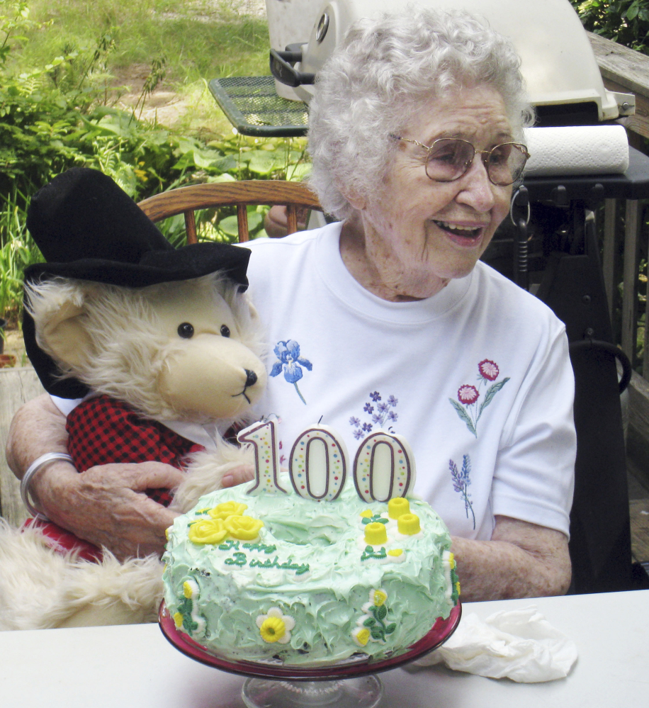 In this Aug. 21, 2009, photo provided by Scott Barrow, his mother Elizabeth Barrow celebrates her 100th birthday at his home in Dartmouth, Mass. Elizabeth Barrow was found on Sept. 24, 2009, strangled in her nursing home bed with a plastic bag over her head.