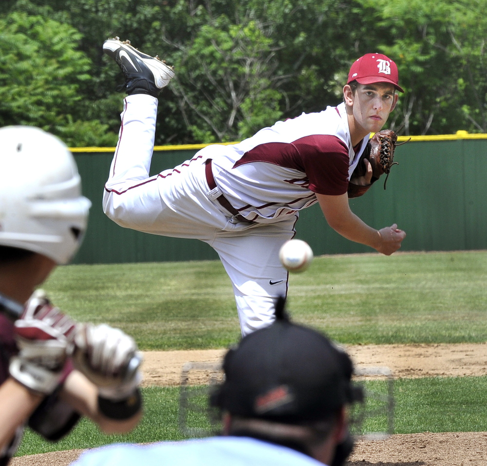 Winning Bangor pitcher Justin Courtney delivers a pitch during Saturday's game against Windham.