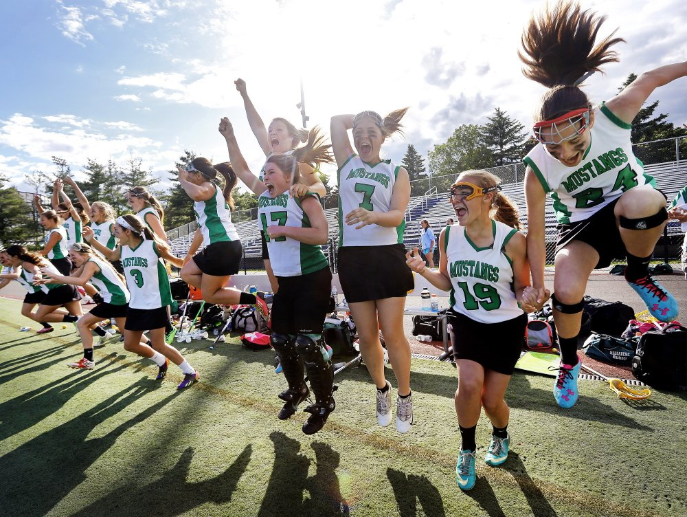 The Massabesic girls' lacrosse team waited a year to make up for a loss to Cheverus in the 2013 Class A state final. Add that to the emotion of beating the Stags with a sudden-death goal Saturday and well, the word is celebration.