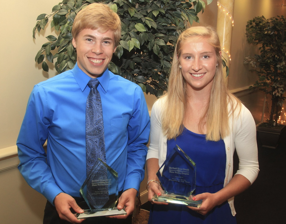 Silas Eastman of Fryeburg Academy and Martha Veroneau of Waynflete were chosen as Portland Press Herald/Maine Sunday Telegram Athletes of the Year in 2013.