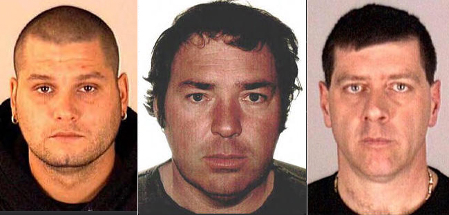 Yves Denis, 35, left, Serge Pomerleau, 49, center and  Denis Lefebvre, 53, who escaped a jail near Quebec City by helicopter on June 7, were arrested on Sunday at a home in Montreal.