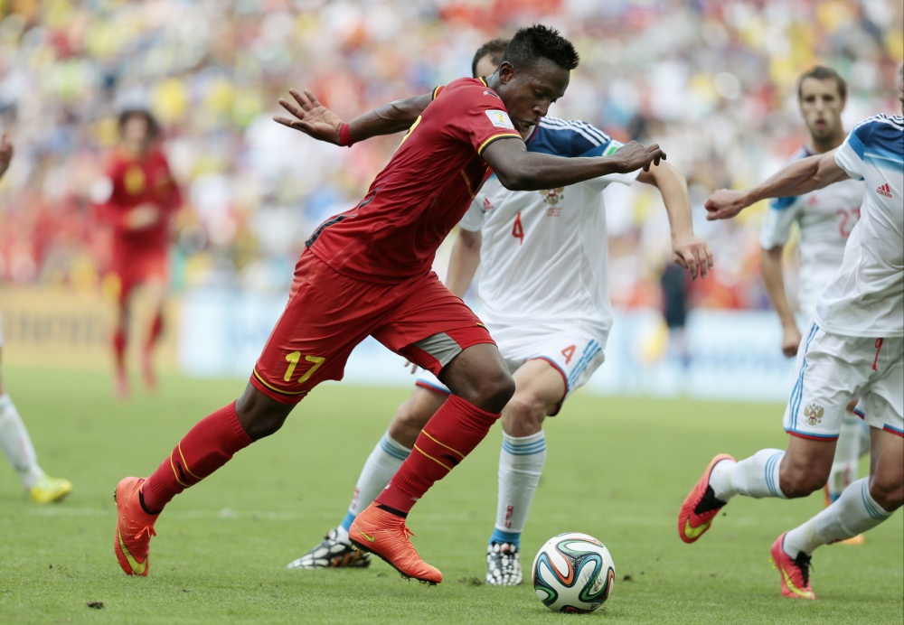 Belgium's Divock Origi runs with the ball during Sunday's World Cup match against Russia at the Maracana stadium in Rio de Janeiro, Brazil. Origi scored the only goal in Belgium's win.
