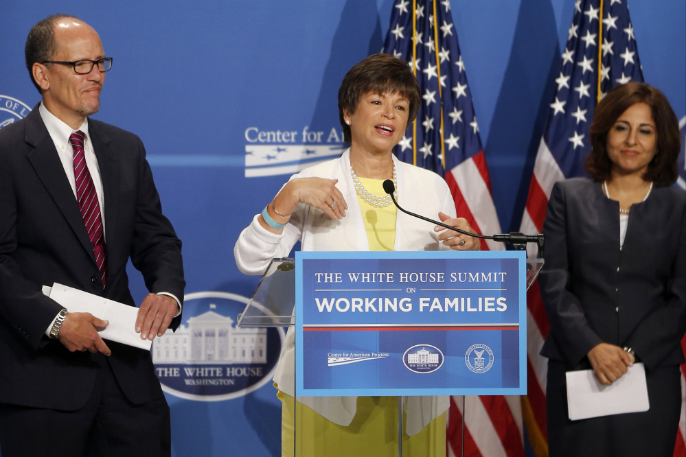 From left, Labor Secretary Thomas Perez, Senior White House Adviser Valerie Jarrett, and Neera Tanden, President of the Center for American Progress participate Monday in The White House Summit on Working Familes.
