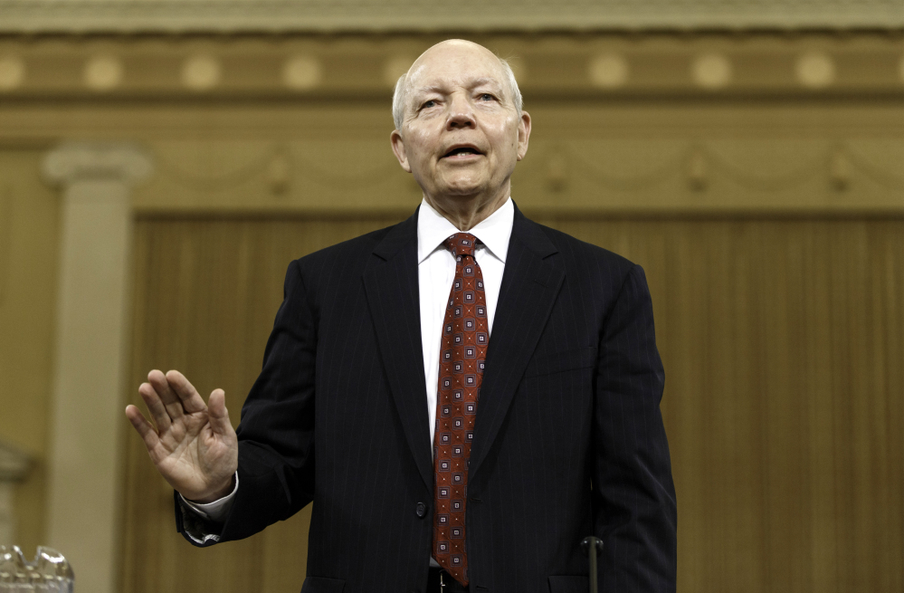 Internal Revenue Service Commissioner John Koskinen is sworn in on Capitol Hill in Washington, Friday, June 20, 2014, prior to testifying before the House Ways and Means Committee hearing on whether tea party groups were improperly targeted for increased scrutiny by the IRS. The IRS asserts it can't produce some emails because of computer crashes,