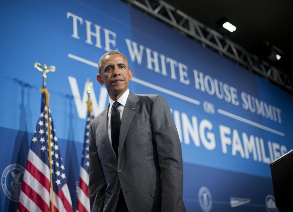 President Obama walks offstage after speaking at the White House Summit on Working Families on Monday in Washington. Obama is encouraging more employers to adopt family-friendly policies, part of a broader effort to convince employers that providing more flexibility is good for business as well as workers.
