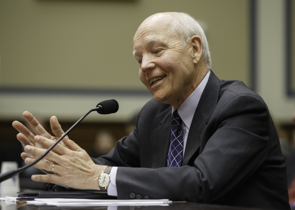 Internal Revenue Service Commissioner John Koskinen testifies under subpoena before the House Oversight Committee as lawmakers continue their probe of whether tea party groups were improperly targeted for increased scrutiny by the IRS, on Capitol Hill in Washington, Monday.
