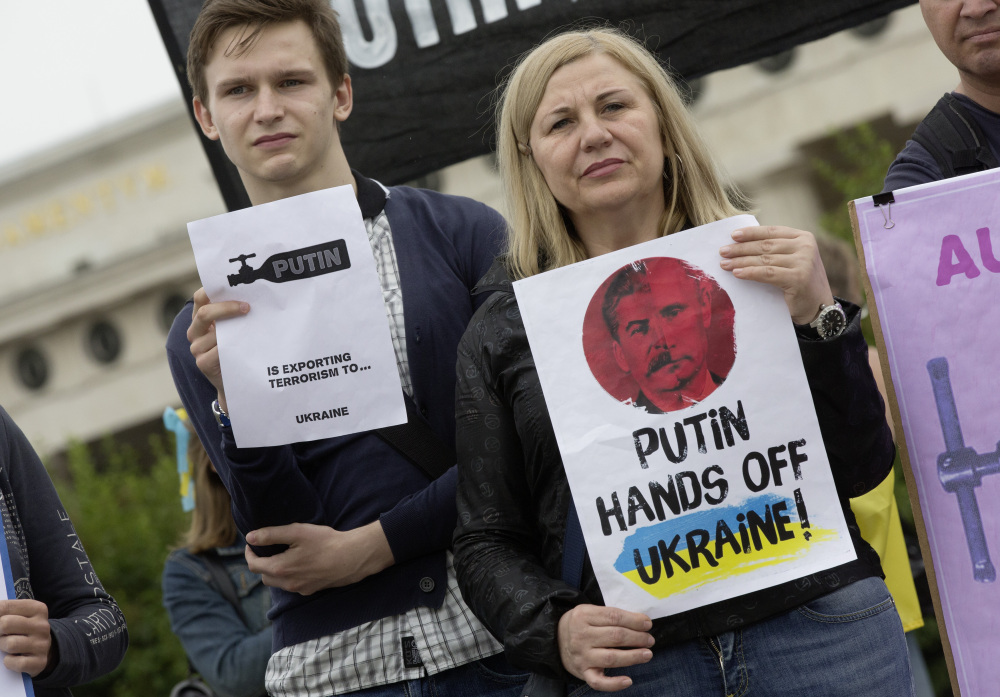 Demonstrators protest in front of Vienna's historic Hofburg Palace against Russian President Vladimir Putin on the occasion of Putin's visit to Austrian President Heinz Fischer on Tuesday.