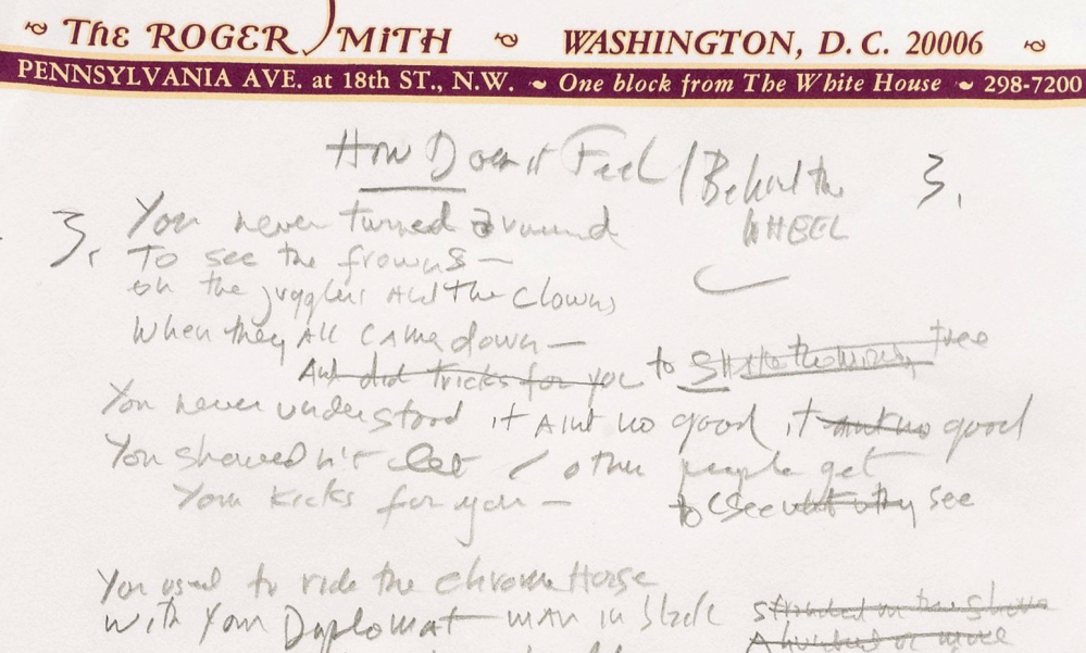 """A snippet is shown from a working draft of Bob Dylan's """"Like a Rolling Stone,"""" one of the most popular songs of all time."""