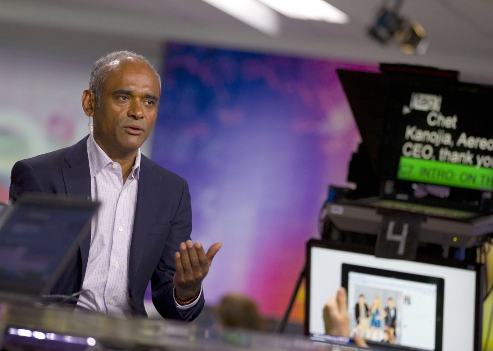 Chet Kanojia, founder of Aereo Inc., is interviewed in New York in 2013. The Internet startup's use of thousands of antennas to capture broadcast TV programs, then stream the video online for subscribers without paying licensing fees to the networks put it at the center of the Supreme Court copyright case.