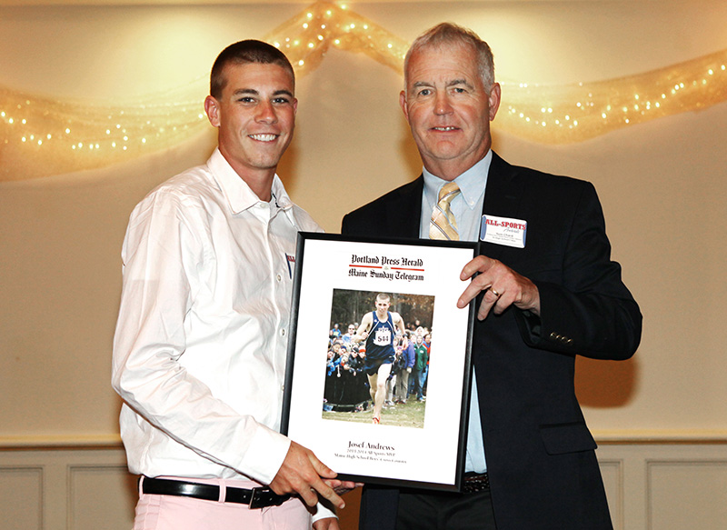 Josef Holt-Andrews, of Telstar High School receives an award for Boy's Cross Country from Press Herald sports writer Tom Chard during the 27th Annual All-Sports Awards Sunday. Joel Page/Staff Photographer