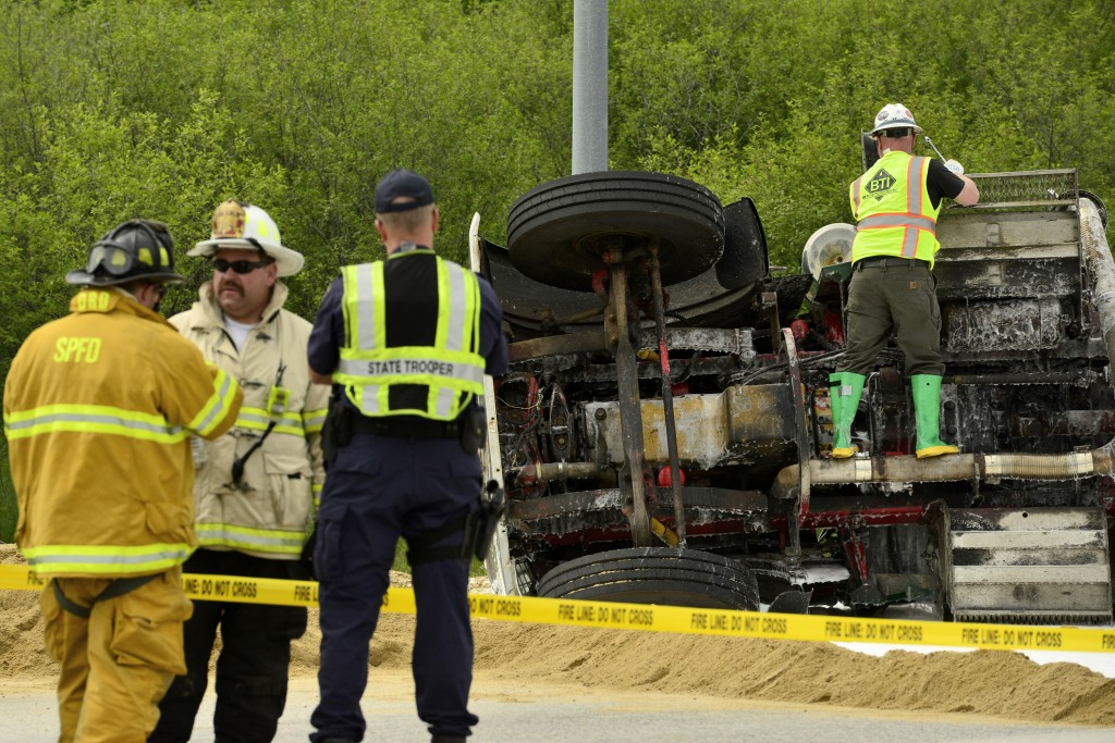 A tractor-trailer truck was leaking diesel fuel after overturning on northbound Route 114 in Gorham on Wednesday.