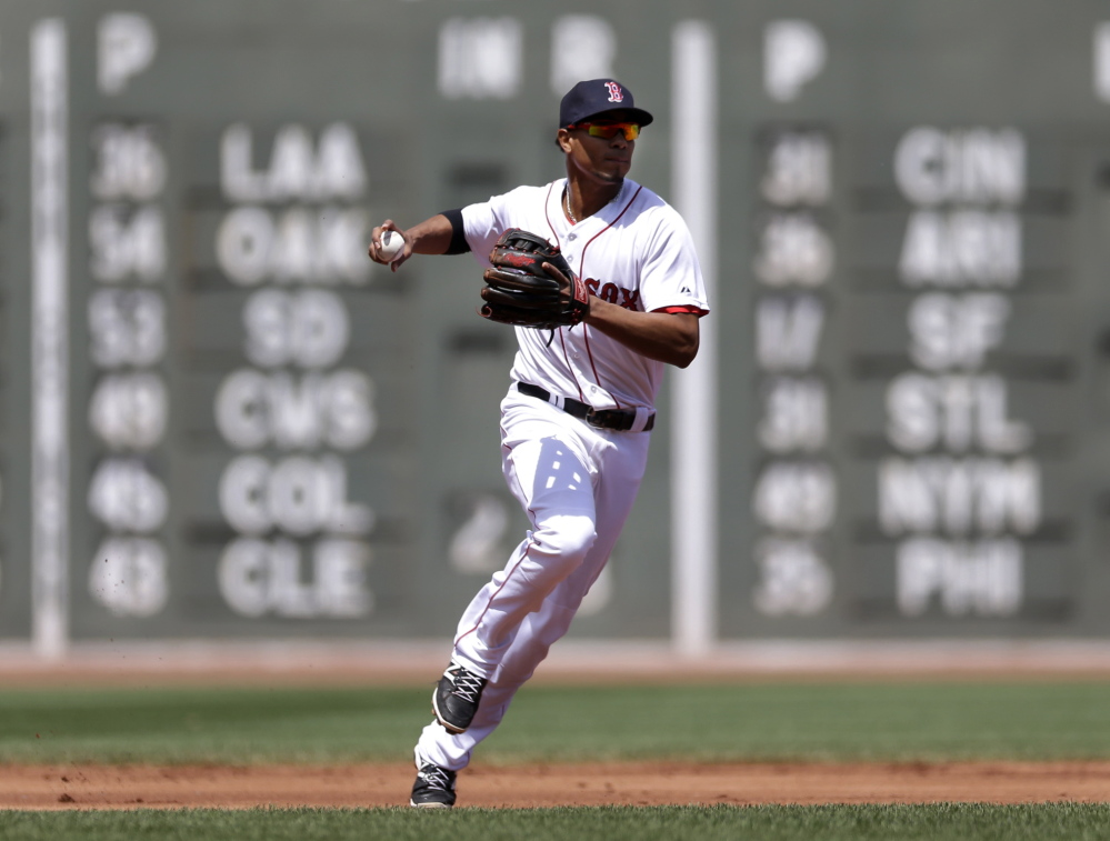 The Associated Press Shortstop Xander Bogaerts, 21, was one of five rookies in the lineup for the Boston Red Sox in Sunday's 4-0 win over Tampa Bay in Boston.