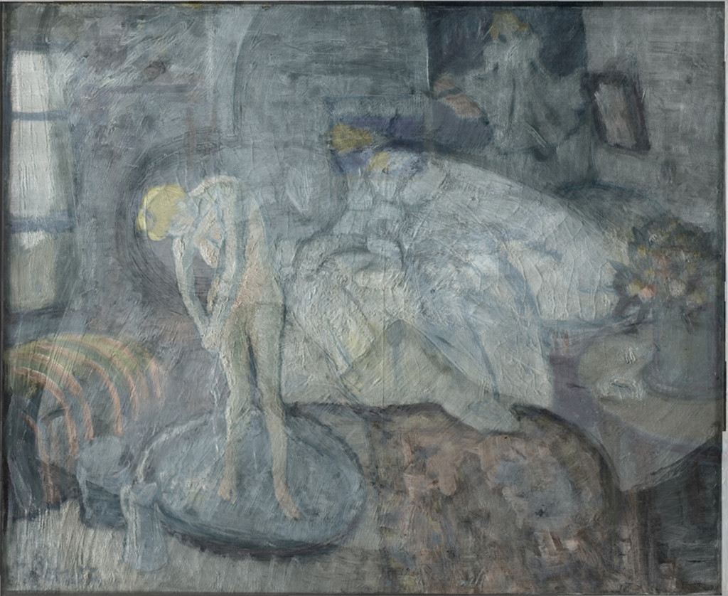 """This image shows the overlay of Picasso''s """"The Blue Room,"""" painted in 1901, and the image beneath it. The Associated Press/The Phillips Collection"""