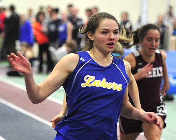 Girls' Indoor Track: Kate Hall from Lake Region High School.