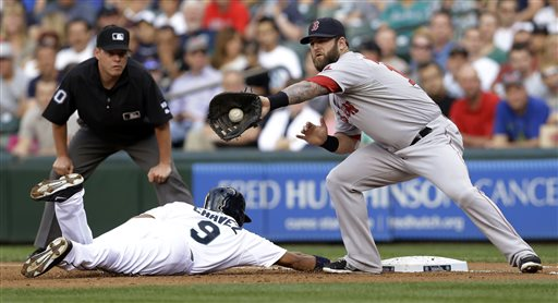 Red Sox first baseman Mike Napoli, right, catches the ball on a pick-off attempt as Seattle's Endy Chavez dives safely back to first base Tuesday in Seattle. The Associated Press