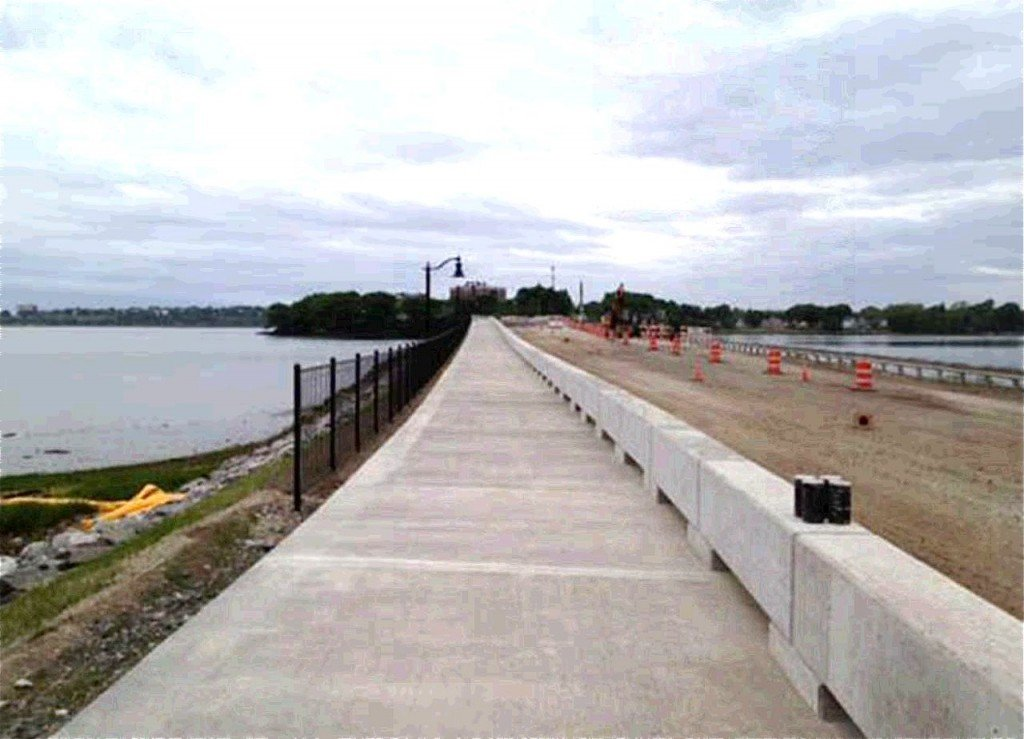 View of the Martin's Point Bridge shows the multi-use path. The bridge opened to vehicle traffic Thursday afternoon.
