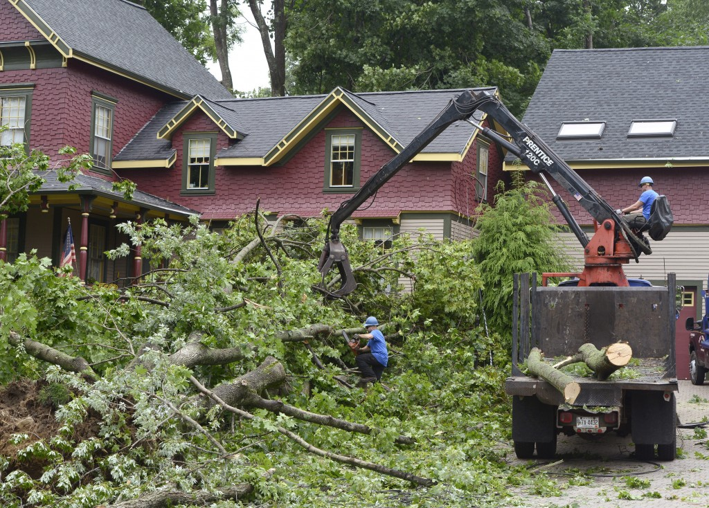 A tree crew cuts and removes several large trees from the front yard of a home on Raydon Road in York on Wednesday after severe storms caused damage throughout the town the night before.