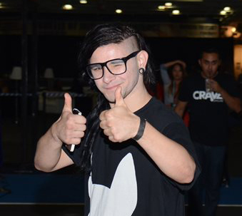 Skrillex is photographed Comic-Con International at USS Midway on Friday, July 25, 2014, in San Diego, CA.