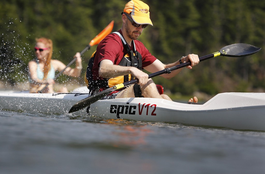 Mark Berry of Winter Harbor works on his paddling technique as paddling enthusiasts attend a surf ski kayak lesson at Thomas Point Beach with Oscar Chalupsky, 12-time World Champion Surf Ski Kayak Racer from South Africa.