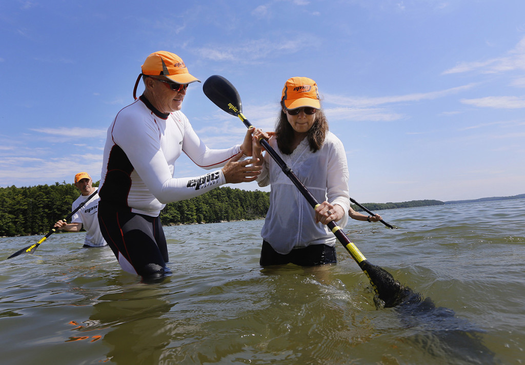 Chalupsky works on paddling technique with Robyn Holman of Jefferson.
