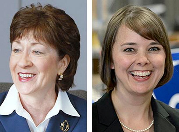 U.S. Sen. Susan Collins, left, and Shenna Bellows
