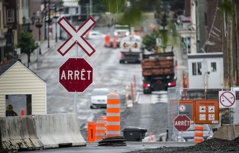 The downtown of Lac-Megantic, Quebec, shown on June 10, remains closed as crews work at the clearing and decontamination a year after an oil-filled train screeched off the tracks and exploded, killing 47 people.